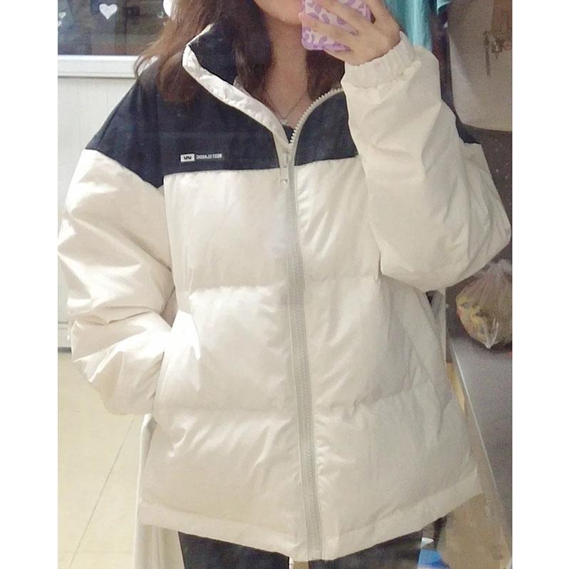 M003#官圖實價 加絨加厚棉服2021冬裝新款寬松棉衣拉鏈長袖外套女
