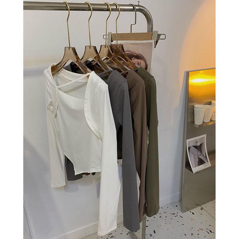 特价1561#官图 方领拼接假两件长袖t恤女初秋上衣新款性感打底衫
