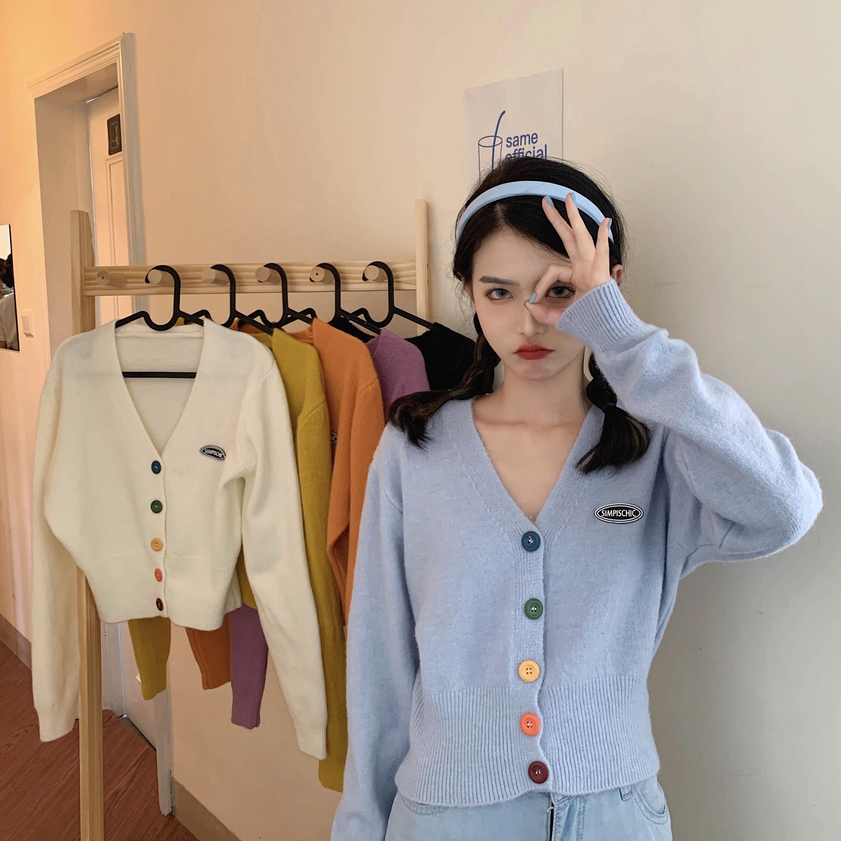 FRUITY韓國chic甜美彩色紐扣V領長袖針織開衫女初秋短款小外套潮