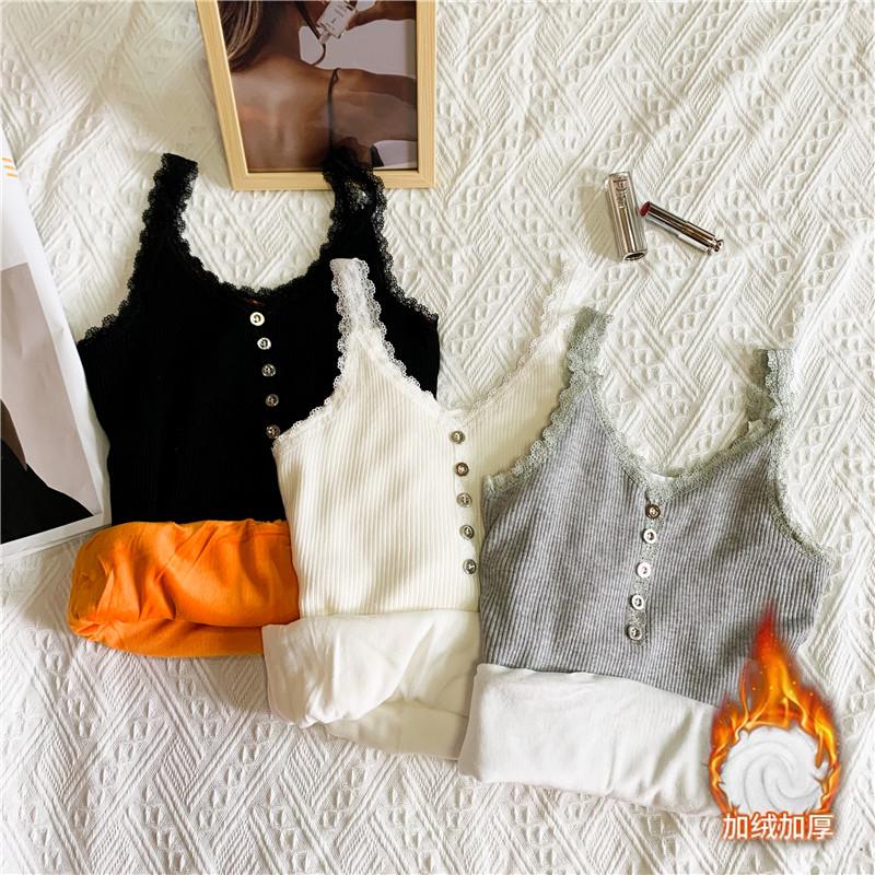實拍實價秋冬保暖加厚加絨內搭白色吊帶背心打底上衣女