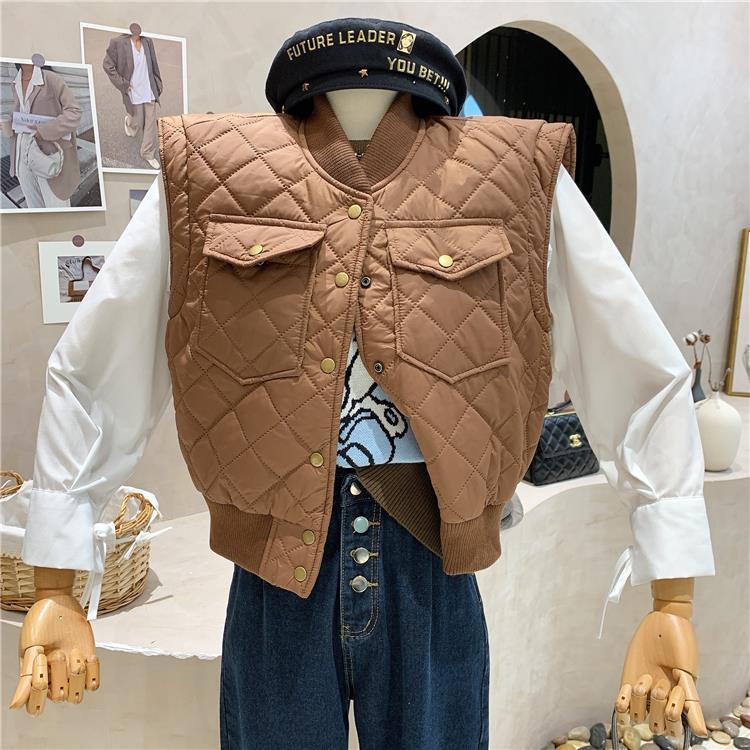 秋冬新款韓版菱格無袖坎肩百搭顯瘦外穿短款上衣外套棉馬甲女