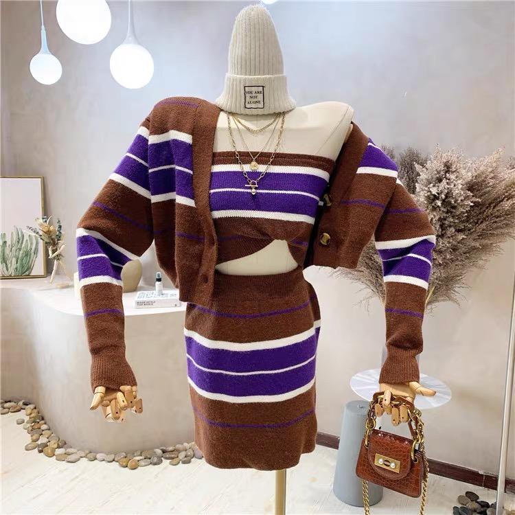 2021韓國秋冬小香風毛衣炸街減齡時尚抹胸套裝針織條紋三件套潮女