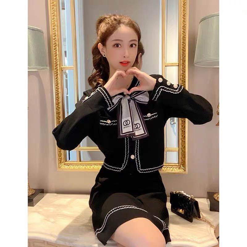 小香風高端針織套裝裙秋冬2021新款減齡氣質女神范黑色短裙兩件套