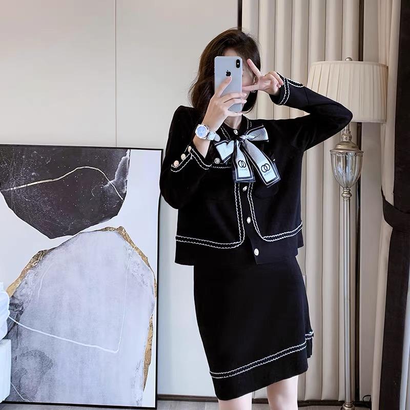 港風針織套裝女復古chic秋時尚名媛小香風氣質毛衣裙子兩件套洋氣