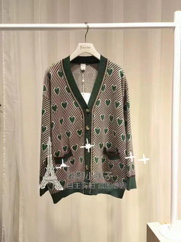 2021秋季新款V領寬松慵懶女裝單排扣開衫羊毛柔軟針織上衣