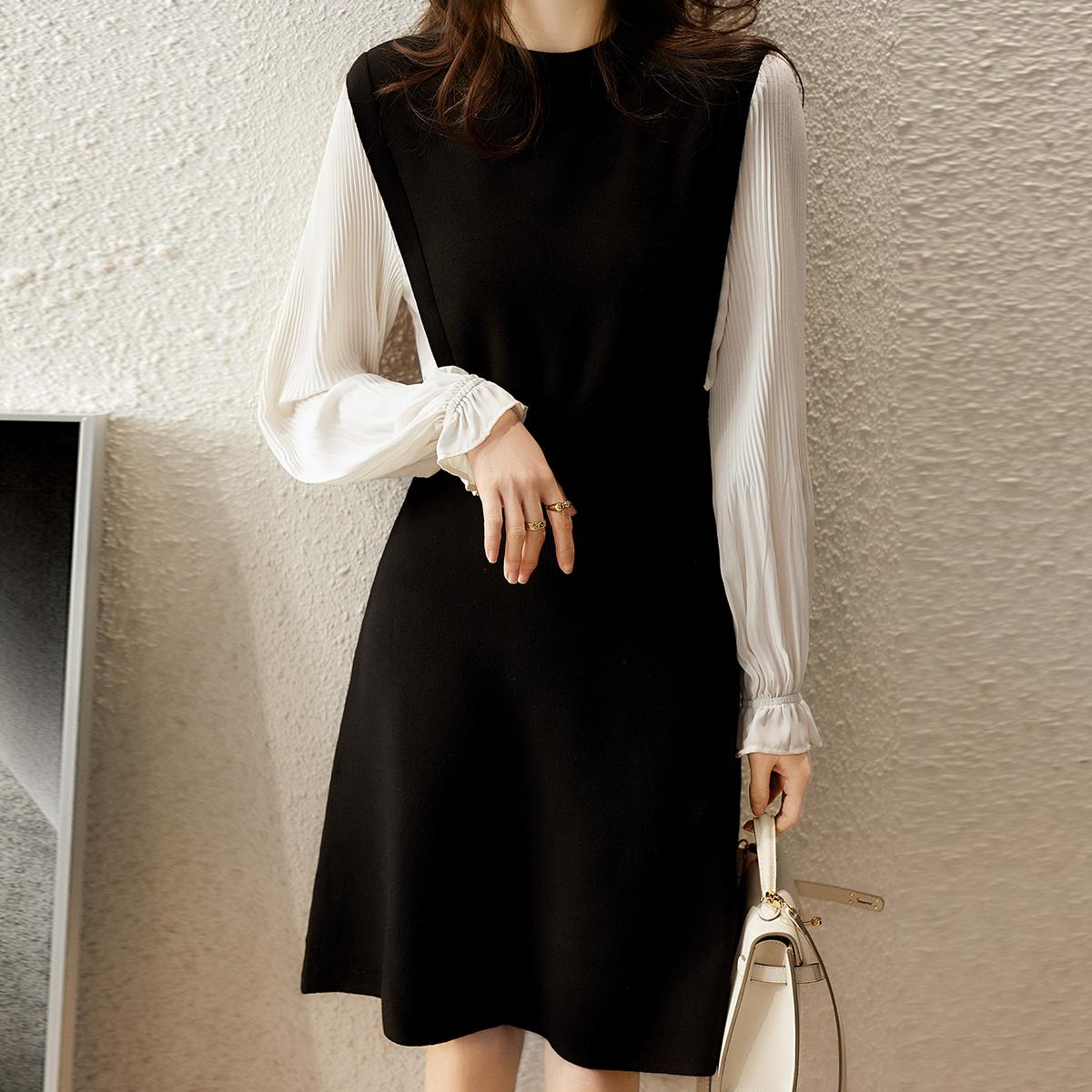 笑涵閣2021年早秋季新款法式初戀設計感小眾赫本風小黑裙連衣裙子