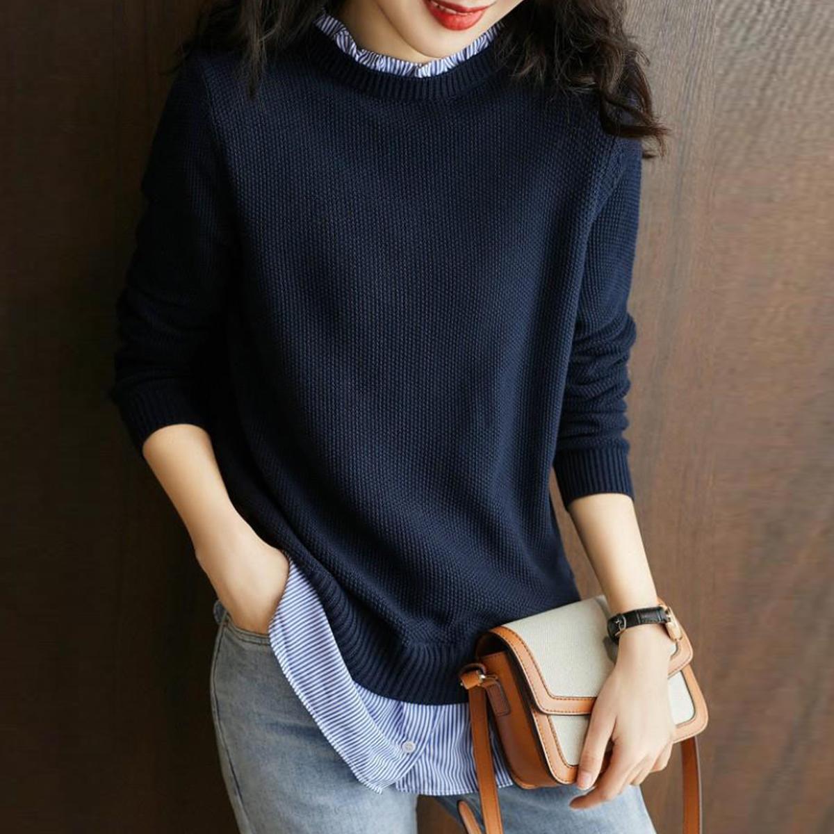 笑涵閣假兩件針織衫女秋冬打底上衣氣質設計感木耳邊修身顯瘦毛衣