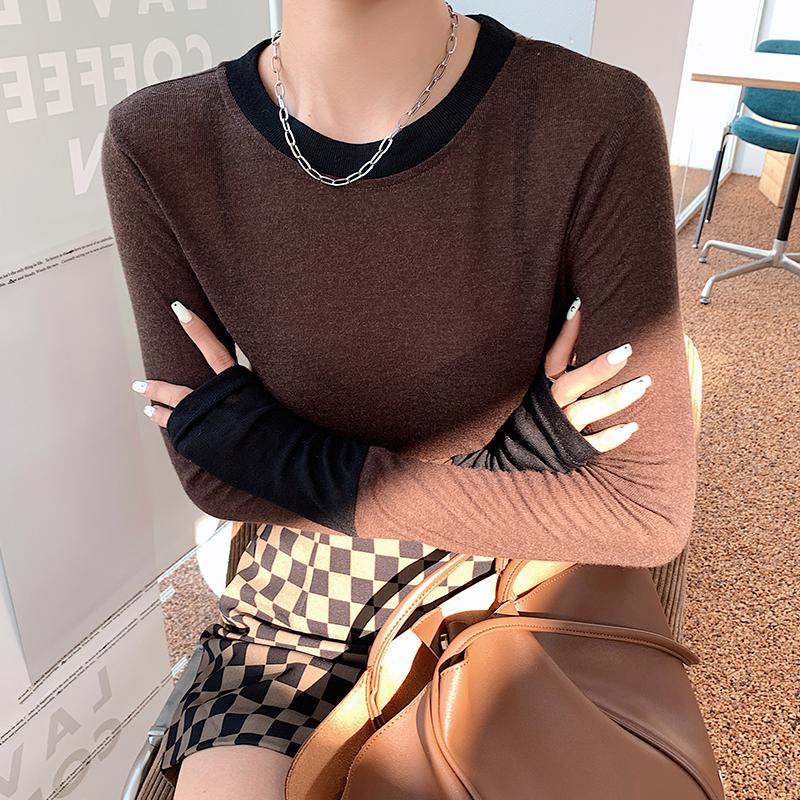 欧货撞色打底衫女春秋内搭2021新款洋气设计感上衣修身长袖t恤
