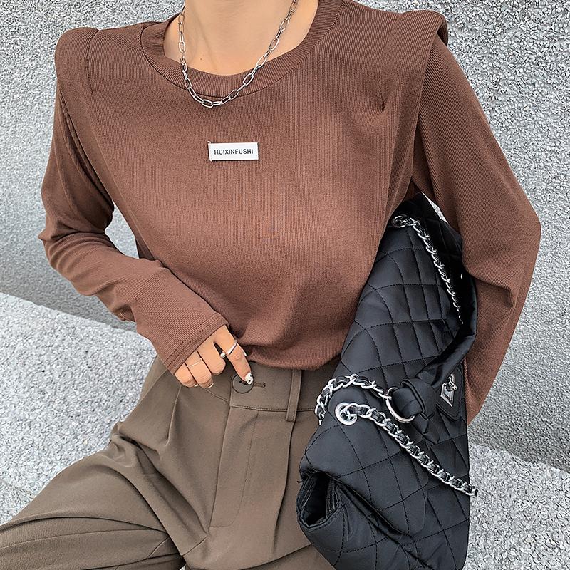 欧货螺纹长袖t恤女2021春秋新款洋气设计感垫肩上衣打底衫女内搭