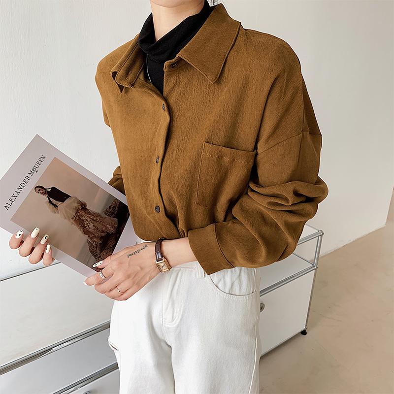 高领衬衫女2021秋季新款高级感气质设计感小众假两件中长款上衣潮