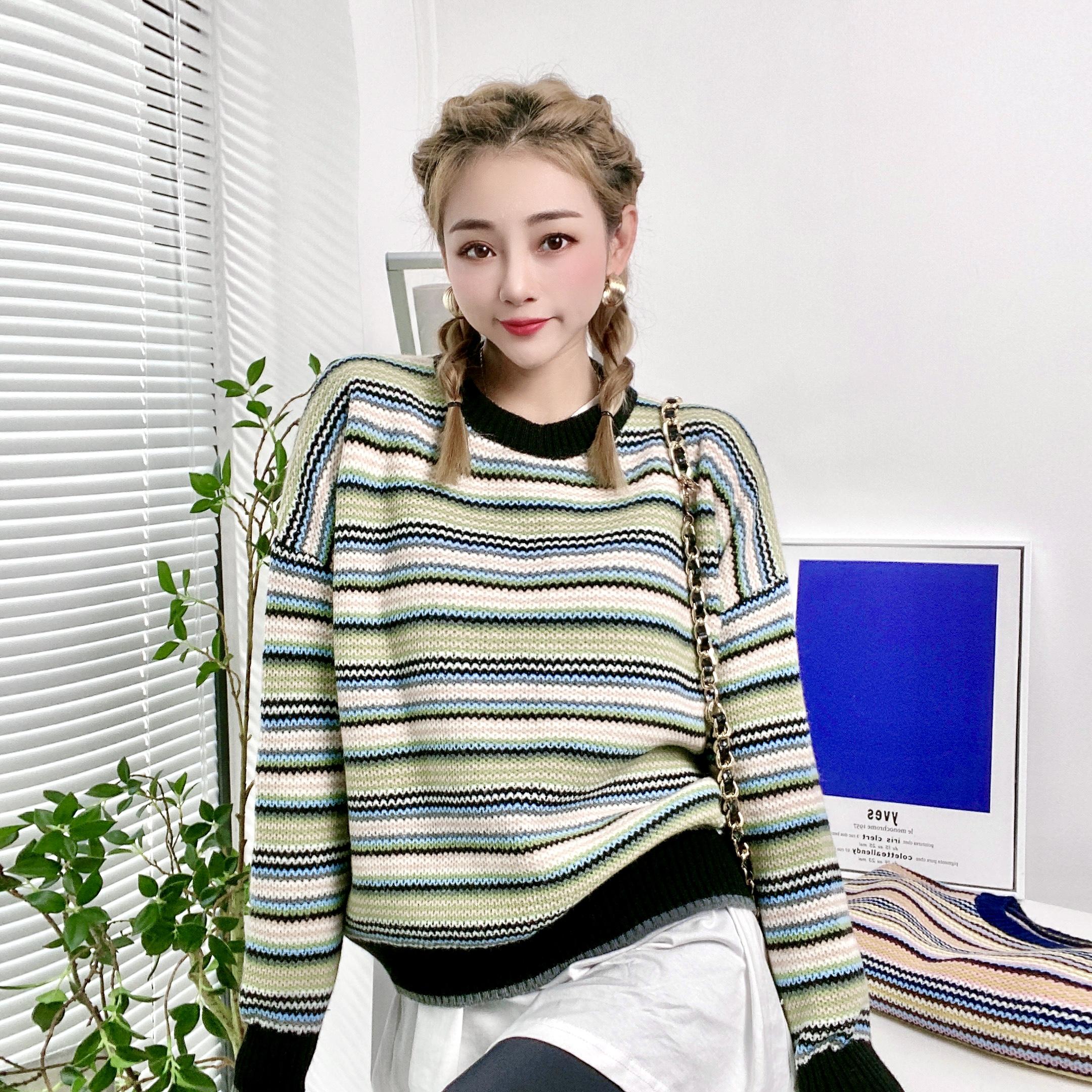 實拍D&ONE2021秋冬新款彩色羊毛圓領條紋拼色毛衣