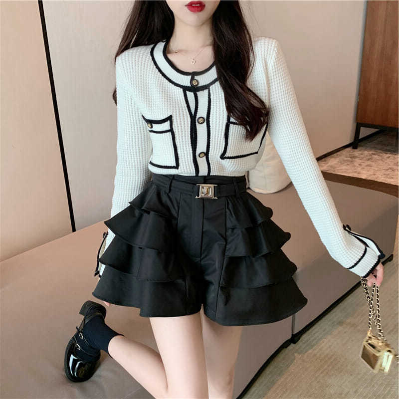 秋季新款薄款針織撞色毛衣開衫上衣外套+半身短裙子女套裝 兩件套
