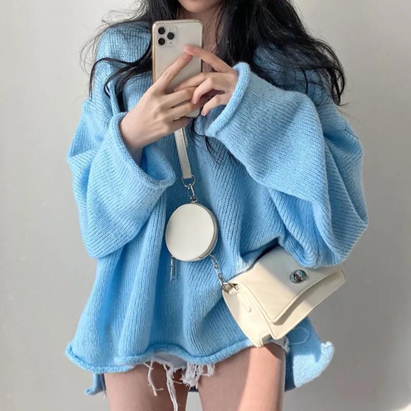 韓國chic秋季慵懶風純色簡約V領卷邊開叉套頭上衣百搭長袖毛衣女