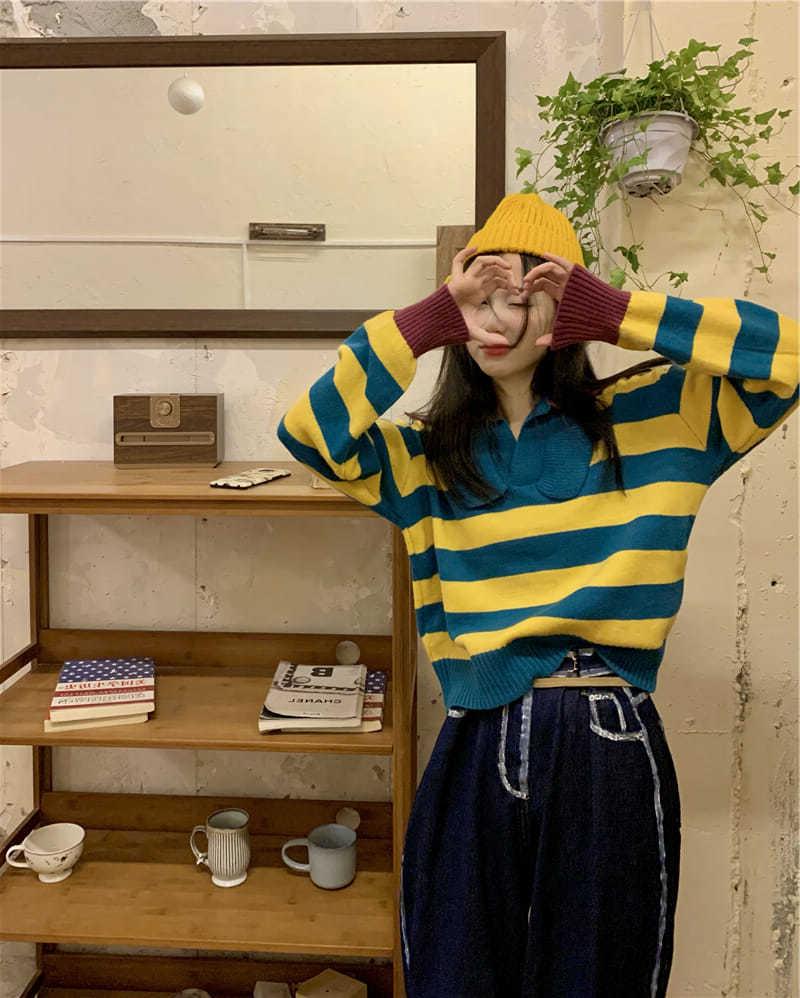 撞色POLO领条纹毛衣女装学院风设计感百搭上衣秋季新款长袖针织衫