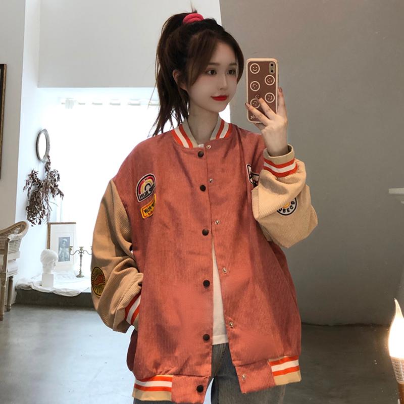 實拍實價! 加絨加厚燈芯絨外套女秋冬裝新款韓版復古棒球服女潮