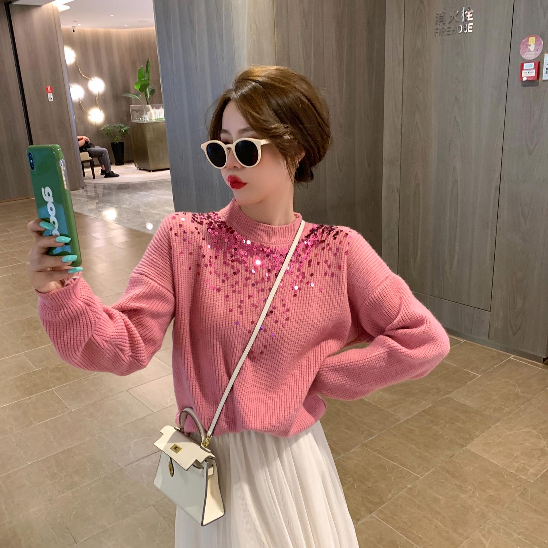 6度2021年初秋新款日系甜美設計感亮片毛衣女生藍色別致針織上衣