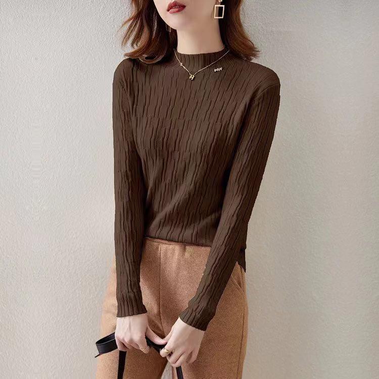 實拍 秋冬韓版新款純色長袖修身顯瘦百搭閃絲針織中領打底衫上衣