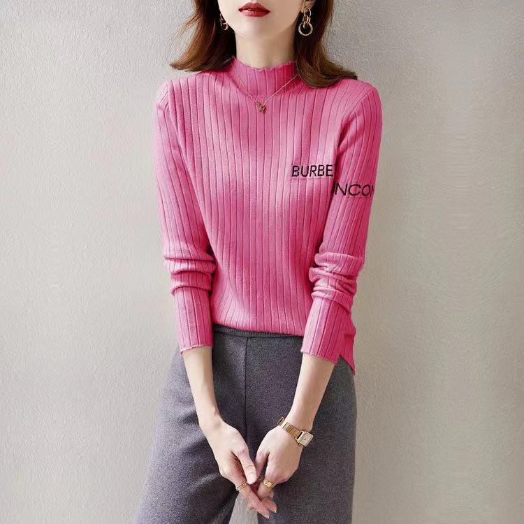 實拍 半高領毛衣打底衫女內搭秋冬款洋氣字母百搭修身針織衫上衣