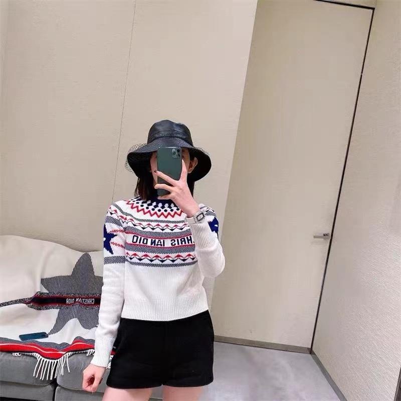 2021秋冬阿爾卑斯滑雪系列五角星套頭毛衣女士大藤格紋長袖針織衫