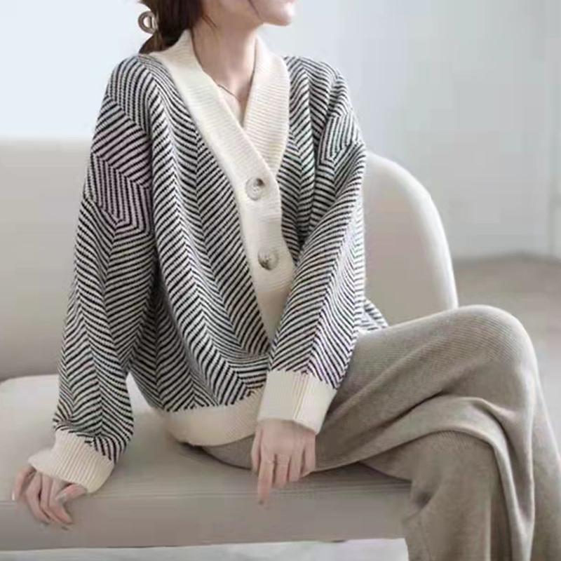鹿毛絨D2129#官圖實價 2021秋季寬松慵懶風針織開衫長袖毛衣外套