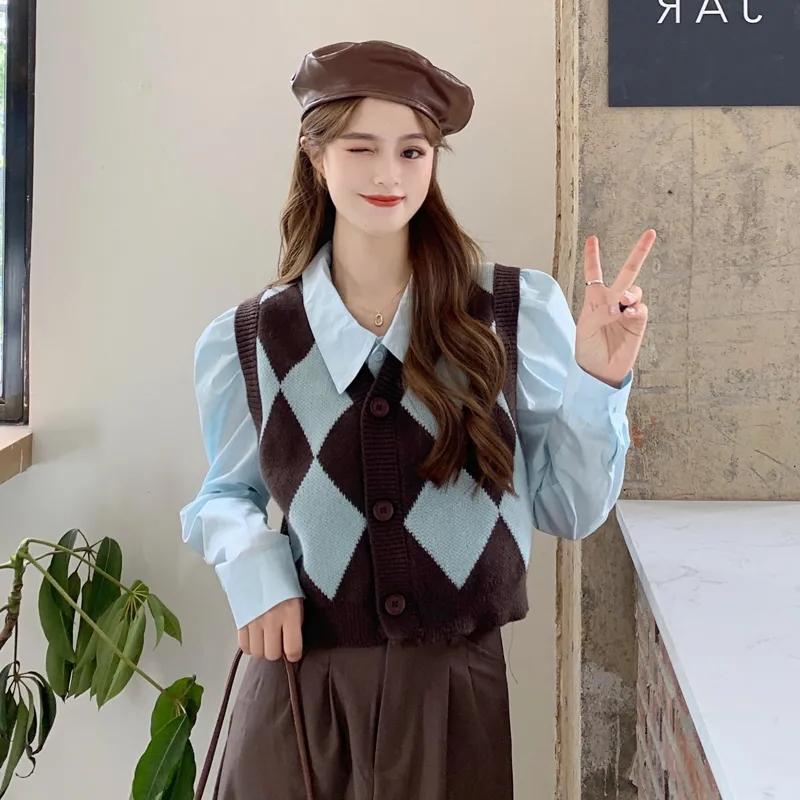 复古菱格叠穿针织马甲背心+打底衬衫上衣春秋新款时尚两件套装女