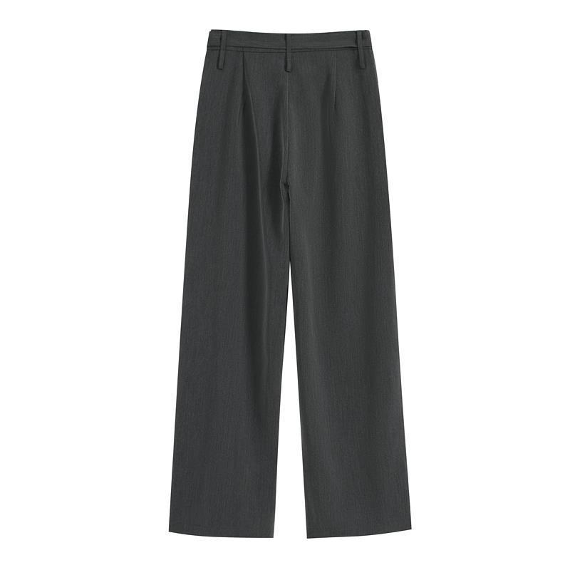 SHIYIYUE灰色西裝休閑褲女春秋新款高腰直筒垂感黑色闊腿拖地長褲