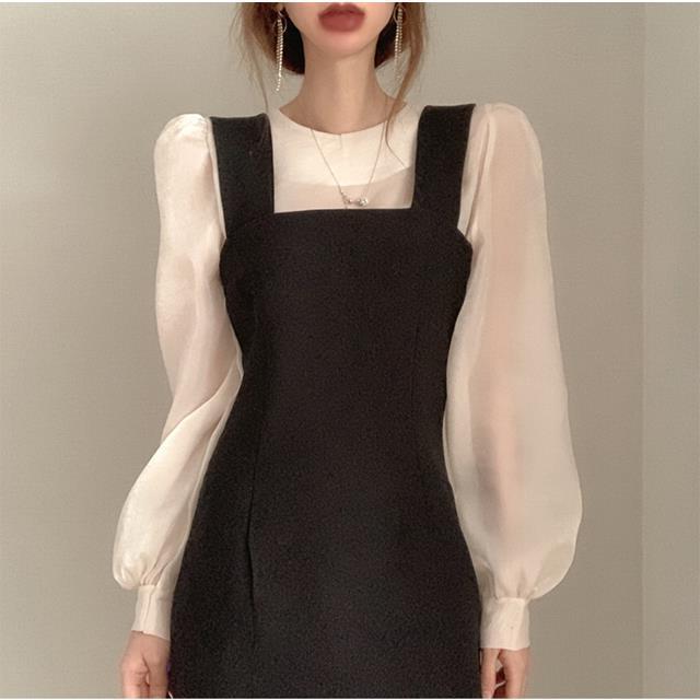 韩国chic法式小众春秋装微透泡泡袖衬衫+修身显瘦微弹背带连衣裙