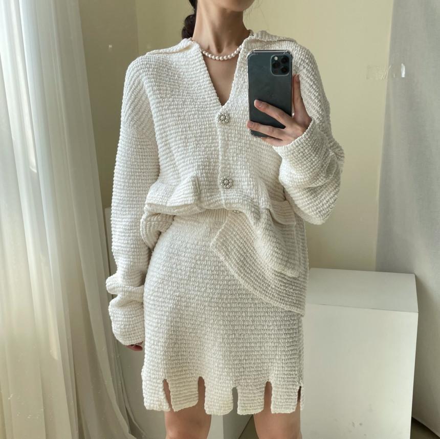 韓國chic復古小眾設計感寬松慵懶針織衫毛衣外套+須邊半身裙套裝