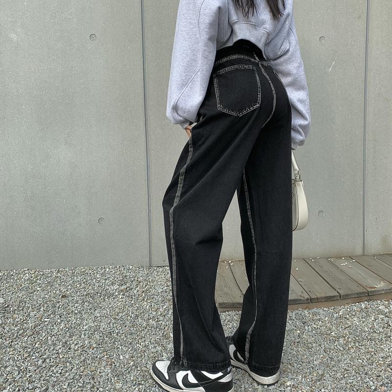 實拍實價 牛仔褲女秋冬寬松闊腿2021年顯瘦設計感直筒拖地