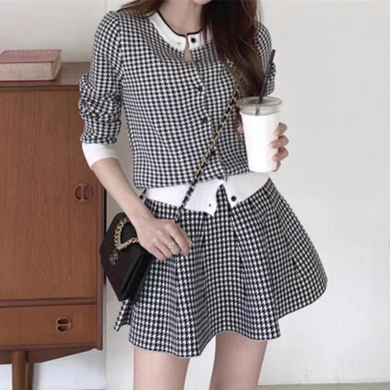 韓國chic秋冬復古千鳥格單排扣圓領針織開衫+高腰A字半身裙套裝女