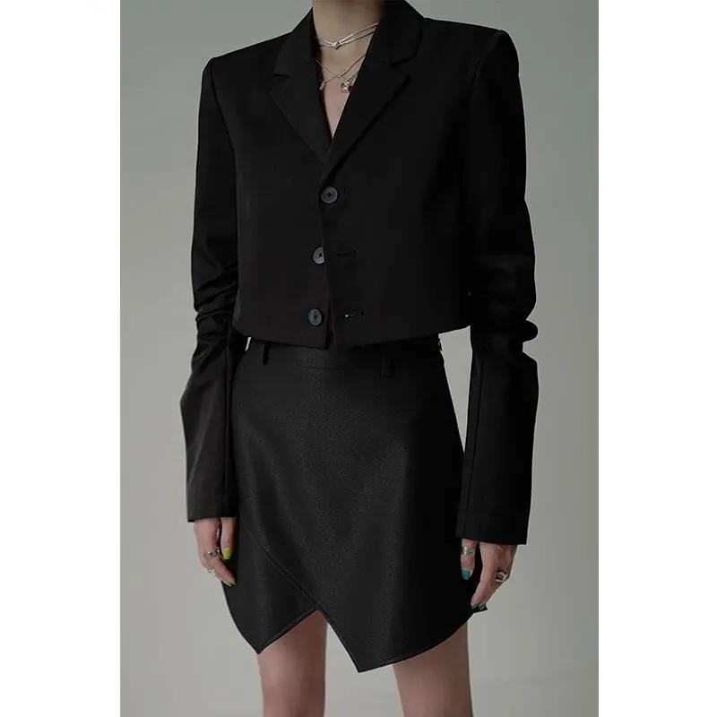 學院風西裝套裝女2021早秋款氣質短款西裝外套+百褶半身裙兩件套