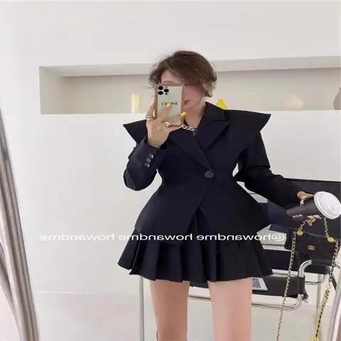 短西裝套裝女2021韓版翻領收腰小西服外套顯瘦百褶半身裙兩件套