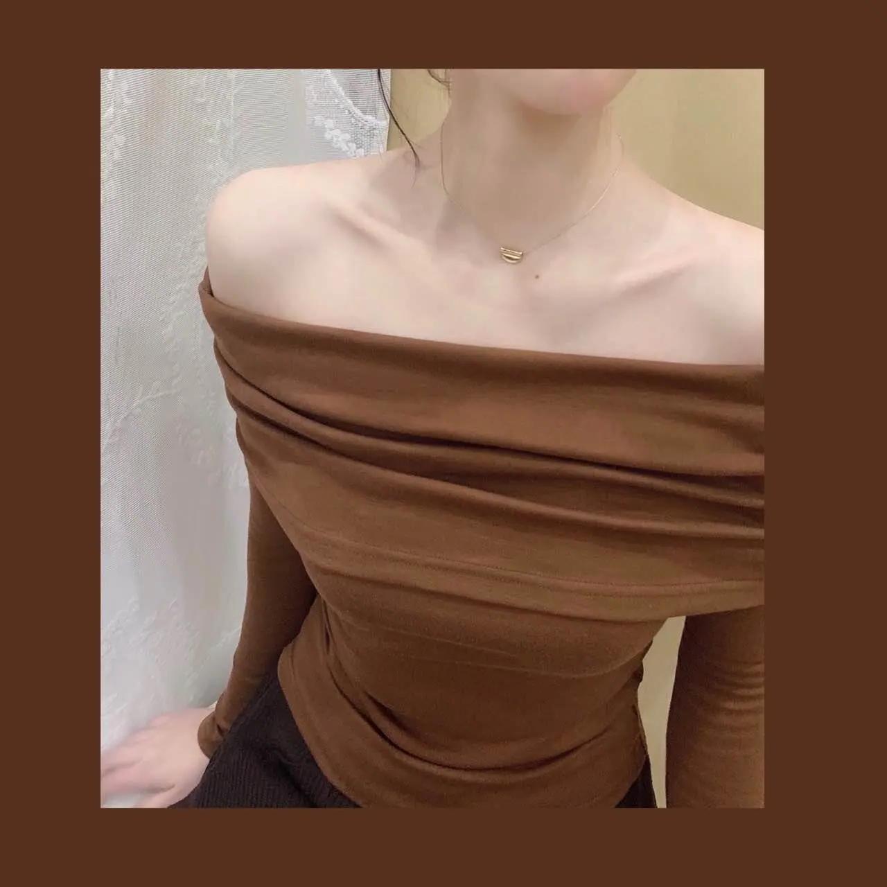 晚时光一字肩咖啡色优雅气质2021早秋新款修身露肩上衣t恤女