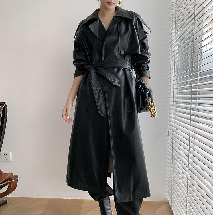 2021春秋新款英倫風復古機車皮衣外套女中長款收腰顯瘦PU大衣
