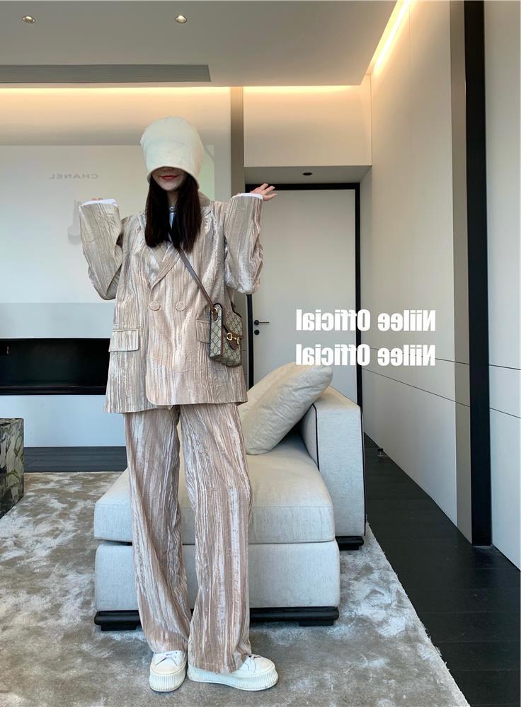 2021春秋新款時尚韓版兩件套復古印花秋季新款印花西裝+褲子套裝