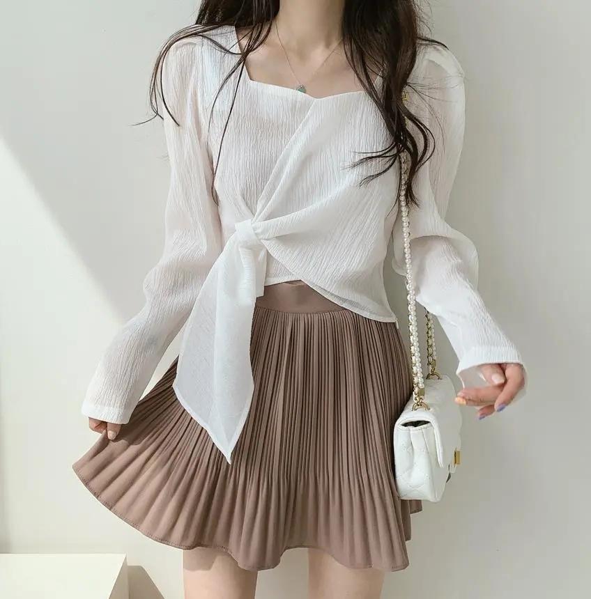 韓國chic法式小眾秋裝簡約寬松顯瘦百搭上衣打結長袖方領襯衫女潮