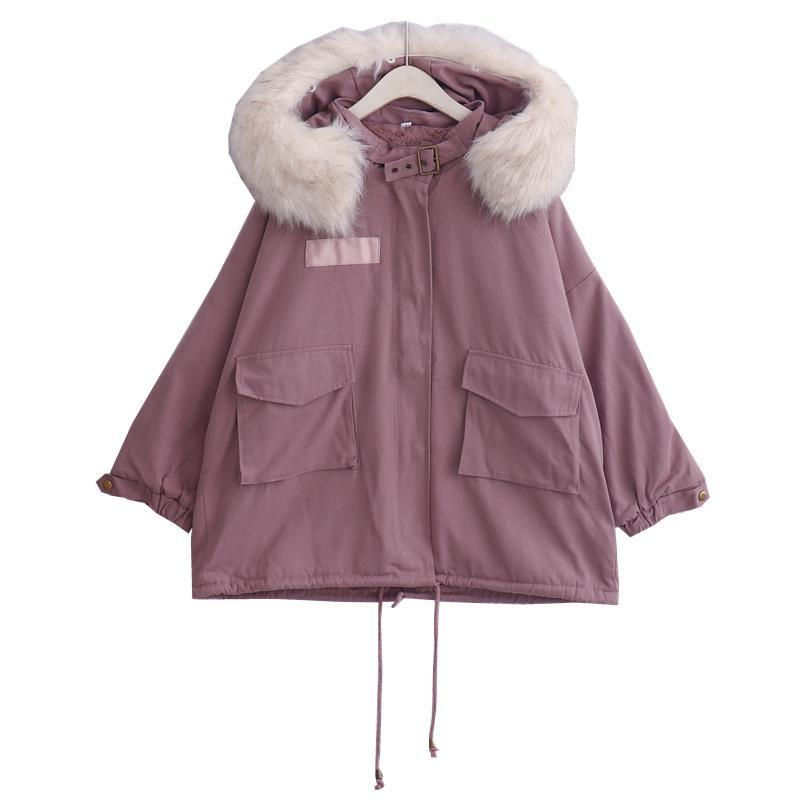 仿兔絨冬裝新款韓版加厚學院風寬松拼接中長款棉衣大毛領外套大衣