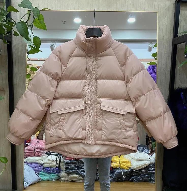 2021年新款小個子韓版面包服短款棉服女輕薄款蝙蝠袖加厚棉衣外套