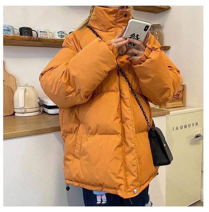 手塞棉韓版寬松面包服女2020冬季新款粉色bf立領加厚保暖棉衣外套