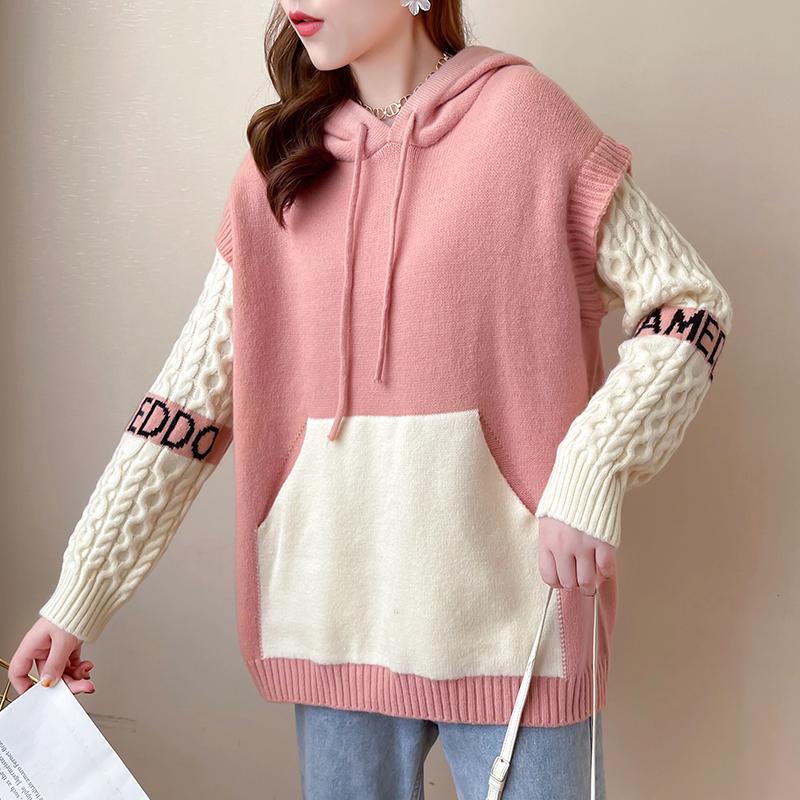 綿羊絨D2120#實拍實價 2021秋季寬松撞色拼接假兩件連帽針織毛衣