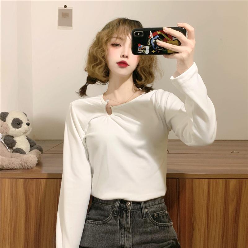 三标齐!实拍实价!2021秋冬新款韩版加厚长袖T恤女士打底衫