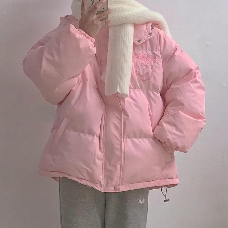 2021冬季新款棉衣棉服女學生韓版ins百搭寬松純色面包服連帽外套