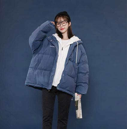 棉服女2021冬季新款學生寬松假兩件衛衣連帽加厚短款韓版棉衣外套