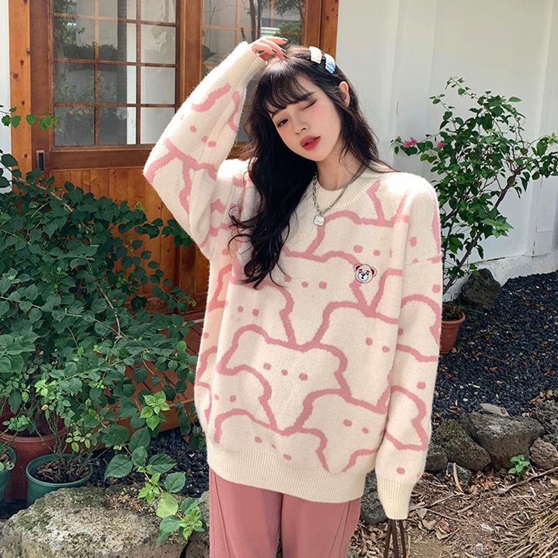 綿羊絨D2130#官圖實價 2021秋裝新款小熊毛衣寬松套頭針織衫上衣