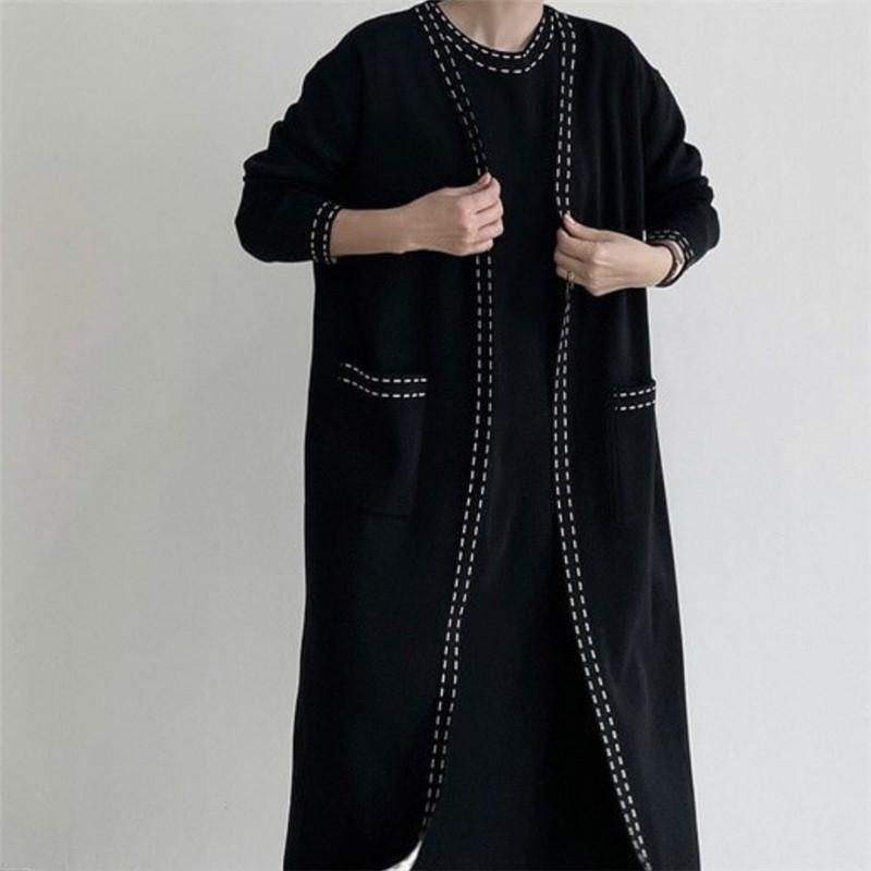 韓國chic秋冬法式長款開衫毛衣+內搭針織吊帶連衣裙套裝女