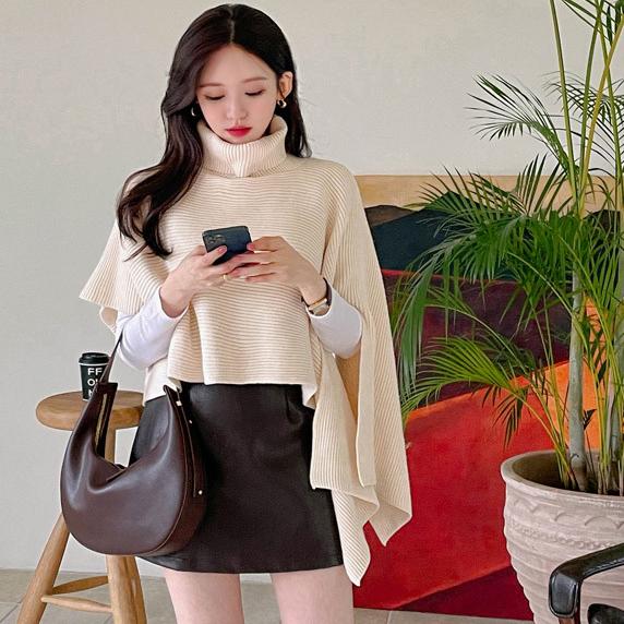 韓國東大門 純色不規則高領套頭針織披肩斗篷毛衣上衣女