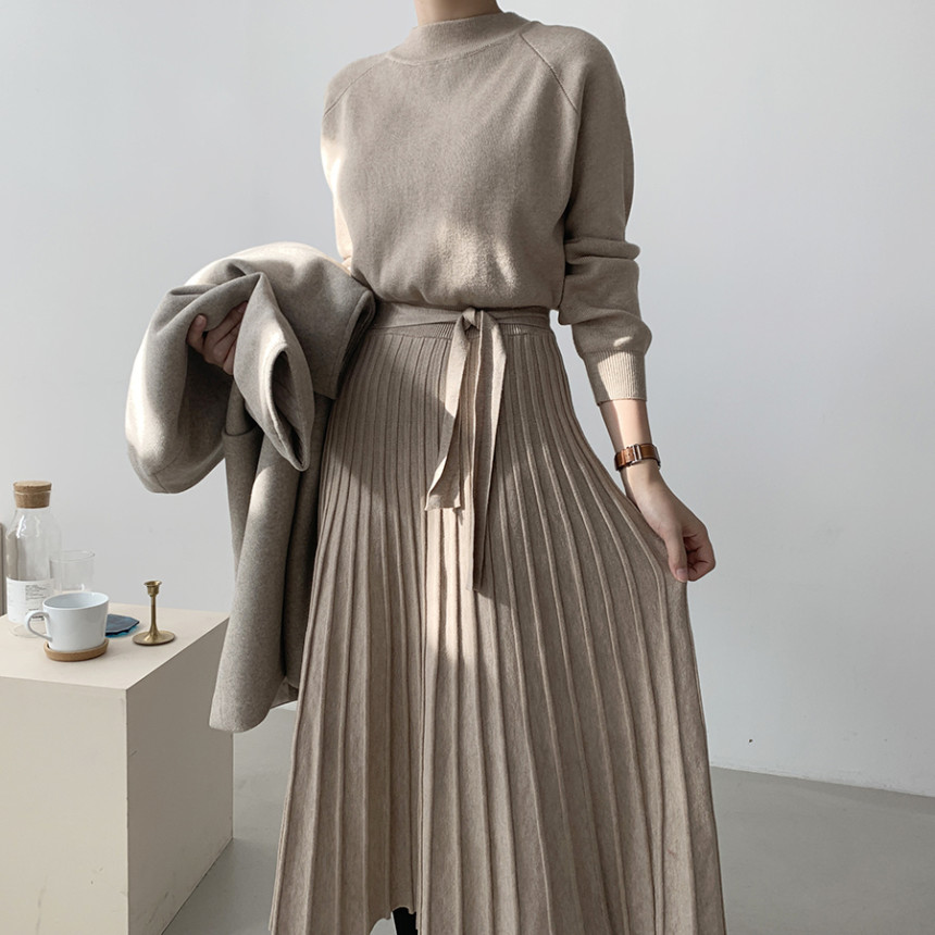 韓國chic復古半高領收腰系帶長款內搭針織毛衣連衣裙女
