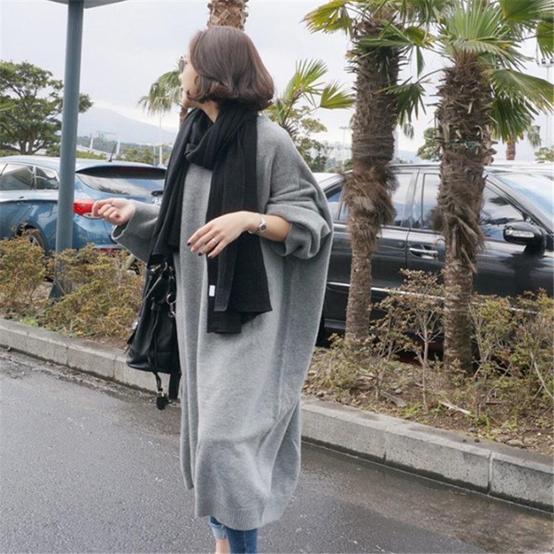 現貨 毛衣女寬松外穿 韓版套頭中長款針織衫新款 學生毛衣裙