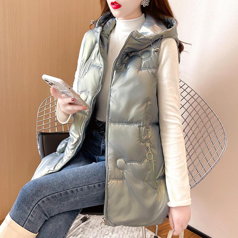 M006#實拍實價 2021冬裝新款加厚保暖棉服女修身棉衣拉鏈無袖馬甲