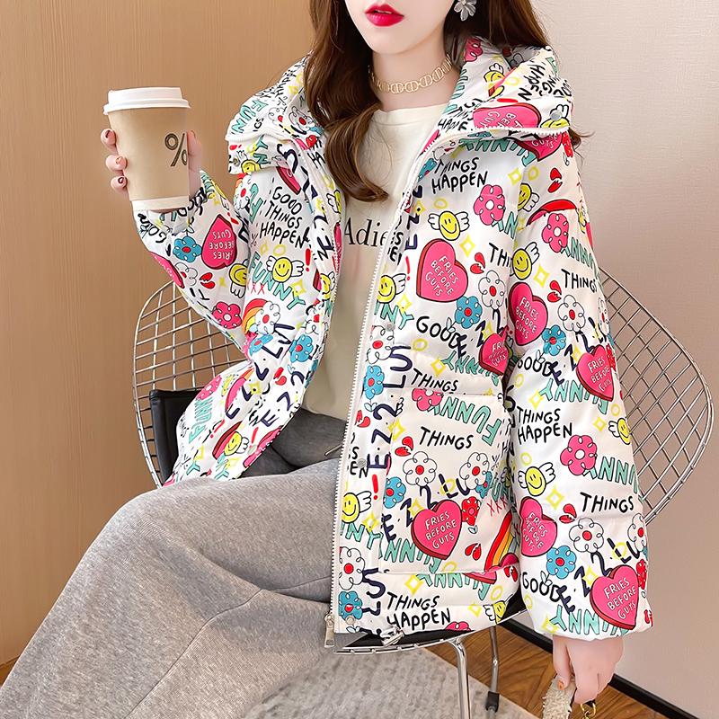 M008#實拍實價 2021冬裝新款加厚保暖棉服女寬松棉衣卡通圖案外套